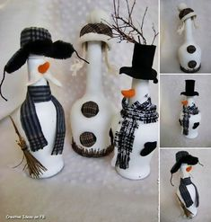 Easy, inexpensive ideas for making DIY Christmas gifts for friends and family in a creative way.How to Make DIY Christmas presents at home Snowman Crafts, Christmas Projects, Holiday Crafts, Easy Diy Christmas Gifts, Christmas Fun, Christmas Decorations, Alcohol Bottle Crafts, Wine Bottle Crafts, Alcohol Bottles