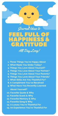 Use these 15 journal prompts any time you want to inject more sunshine into your day! Click the post to learn more ways to increase you daily gratitude and happiness quickly and effectively. journal Ways To Feel Happy All Day Long Gratitude Quotes Thankful, Gratitude Challenge, Grateful Quotes, Gratitude Ideas, Journal Challenge, Grateful Heart, Gratitude Jar, Bullet Journal Gratitude, Gratitude Journal Prompts