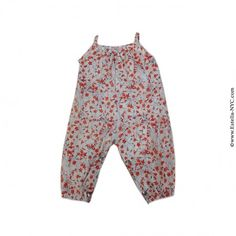 Amelia Baby Girls Cotton Floral Overalls