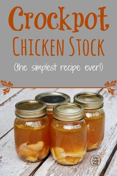 This crockpot chicken stock is so simple to throw together, and will keep your tummy happy!