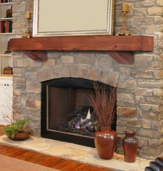 rustic fireplace mantel shelves - Google Search