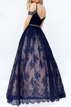 Dressylady Charming A line Beaded Lace Prom Dress Long Formal Evening Party…