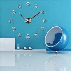 2017 hot acrylic wall clock quartz watch living room modern 3D mirror stickers reloj pared horloge large decorative diy clocks