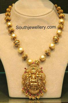 South Sea Pearls and Nakshi Balls Mala with Lakshmi Pendant