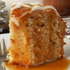 A delicous apple cake recipe served well with coffee or tea.. Moist Apple Cake with Caramel Topping Recipe from Grandmothers Kitchen. Follow us on Pinterest.
