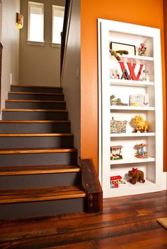Traditional Staircase Photos Painted Stairs Design, Pictures, Remodel, Decor and Ideas Bookcase Door, Built In Bookcase, Bookcases, Painted Stair Risers, Converted Closet, Traditional Staircase, Hidden Rooms, Hidden Closet, Hidden Spaces
