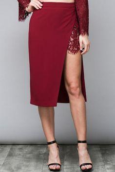 Oxblood Side Slit Lace Midi Skirt