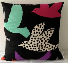 Japanese fabric cushion cover in black background by miaandstitch, $35.00