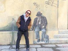 France Intern Posing with Local Street Art