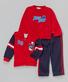 Another great find on #zulily! Red 'Touch Down' Fleece Hoodie Set - Infant & Toddler #zulilyfinds