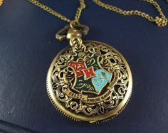 harry potter the death hallows pocket watch Hogwarts School Seal brass necklace pendant chain charm antique jewelry