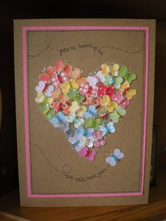 handmade card ... kraft ... adore this large heart created from tiny punched butterflies with seed bead bodies ...
