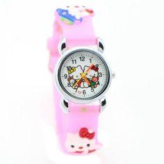 e4c2930c115a Hello Kitty Watch Girls Children 3D Design Pink Band Cat Wristwatch