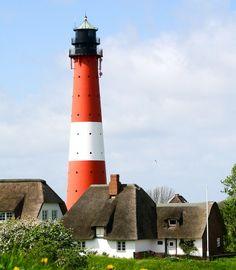 Leuchtturm Pellworm, steht im Nordfriesischen Wattenmeer in Deutschland und ist heute nur noch Leitfeuer. Nordsee