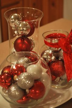 Dollar tree Christmas Decorations | two Dollar Tree vases, one vase I already owned, ribbon from Christmas ...