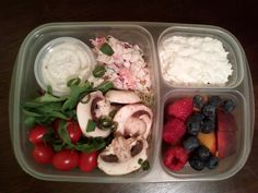 Mixed green salad with yogurt ranch dressing, summer veggie salad, mushrooms, cherry tomatoes and chopped green onions. Cottage cheese and raspberries, blueberries and peaches for dessert.