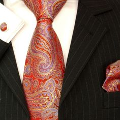 Red, Gold and Blue Paul Malone Silk Tie Set