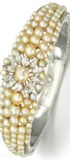pearls.quenalbertini: Natural pearl and diamond bracelet | beauty bling jewelry fashion