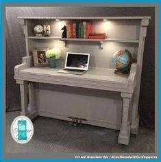 Turn An Old Piano Into A Office Desk by Dollar Store Crafter