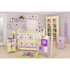 Butterfly nursery set idea. Purple and green