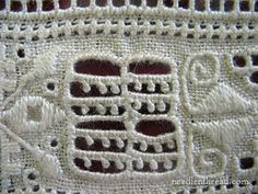 Though there seem to be many designs for the various elements in Lefkara lace – lots of different takes on the drawn thread elements and on the geometric embroidered elements Hardanger Embroidery, White Embroidery, Drawn Thread, Linens And Lace, Needle Lace, Satin Stitch, Cutwork, Needlepoint, Needlework