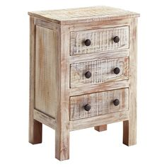 Signature Design by Ashley Charlowe White Wash 3-drawer Night Stand