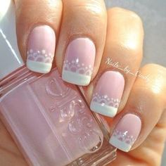 107 Designs of Elegant French Nails Decorated Easy to Learn How to Make French Manicure Step by Step Bridal Nails Designs, Wedding Nails Design, French Nail Designs, Nail Art Designs, Fun Nails, Pretty Nails, Lace Nails, French Tip Nails, Manicure And Pedicure