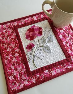 Valentine's Day mug rug quilted floral snack mat hearts
