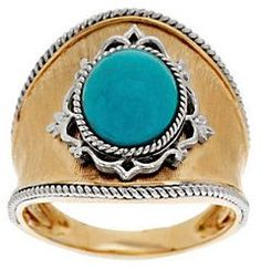 QVC As Is Sleeping Beauty Turquoise & Satin Finish Domed Ring, 14K