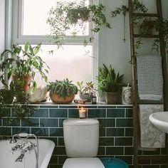 dark green tiles bathroom