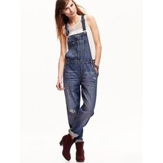 Old Navy Womens Denim Overalls ($45) ❤ liked on Polyvore featuring jumpsuits, edinburgh, petite, denim overalls, white jumpsuit, white denim overalls, white overalls and bib overalls