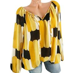 Ivanka Trump NEWT PAPAYA Chiffon ruffled V neckline sleeves blouse size XS XL