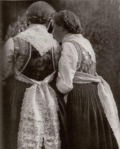 Three girls wearing traditional Catholic Hesse costume from Marden. Austria