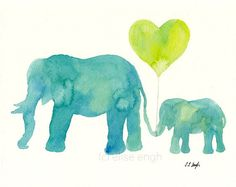 Teal Mom and Baby Elephant with Lime Heart Balloon, Original Watercolor Painting, 8x10