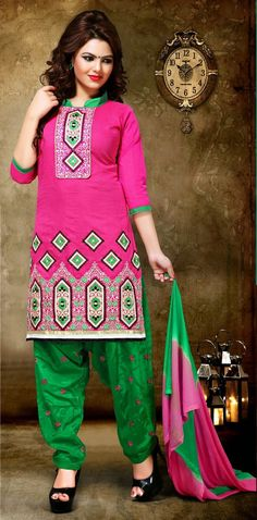 Chanderi Silk #Resham Work #Pink Semi Stitched Patiala Suit - 124 at Rs 1170 #anarkalionline #onlinesuits #partywear #partywearsuits  #StayTrendyWithIndiaRush #StayTrendy