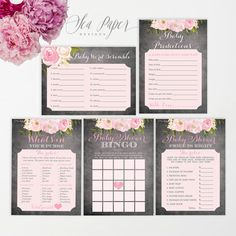 Baby Shower Game Set 5 Pack - Chalkboard Pink Floral - Baby Shower Party - Printable Instant Download - Bingo, Scramble, Purse - Emily
