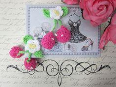 2pcs Crochet Cotton Cherry - White/Pink/Blue by NatashaScrapbooKorner, $1.89 USD