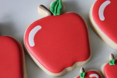 Apple Cookies Best Sugar Cookie Recipe, Best Sugar Cookies, Fancy Cookies, Cookie Recipes, Cookie Ideas, Cookie Designs, Fruit Cookies, Apple Cookies, Iced Cookies