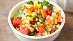 It only takes 40 minutes to make this vegetarian side dish made with fresh corn, chopped tomatoes and onions. To save even more time, use whole kernel sweet corn.