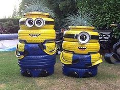 Minions: Recycle Scrap Tires - Home Minions, Garden Crafts, Garden Projects, Tire Playground, Tire Furniture, Furniture Design, Modern Furniture, Recycled Furniture, Handmade Furniture