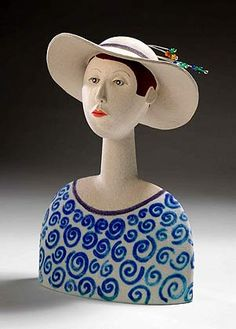 Ceramics by Sue Crossfield at Studiopottery.co.uk - Head with Hat. Created in 2006.