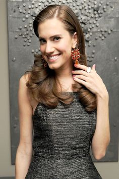 Allison Williams wearing Irene Neuwirth One of a Kind Earrings with Mexican Fire Opals, Peach Moonstone and Diamonds
