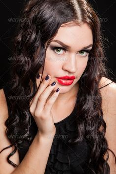portrait of beautiful stylish woman ...  20s, beautiful, beauty, black, brown, caucasian, cosmetics, curly, diva, elegance, ethnicity, eyelashes, eyes, face, fashion, female, femininity, fingers, flirting, glamour, hair, hairstyle, head, health, human, lady, lips, long, looking, luxury, make-up, makeup, manicure, maquillage, model, nails, one, party, people, portrait, red, sensuality, shoulders, studio, style, vertical, wealth, woman, women, young
