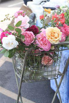 Roses in a mini cart.