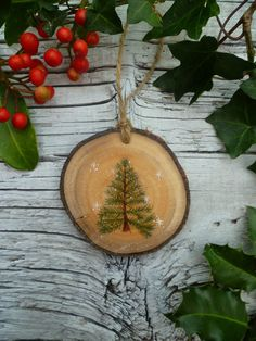 Rustic Christmas Ornament Winter Fir Tree by AliceCEades on Etsy, £18.00