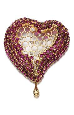 Salvador Dalí - A ruby and diamond brooch, 'Honey Comb Heart', circa 1953