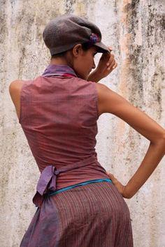 Iris  top, hand woven cotton. Gitane skirt, hand woven cotton. Gavroche cap, hand embroidered wool.