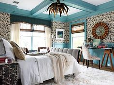 Guest bedroom by Katie Leede. Traditional with a Bohemian vibe! Wall covering is Menna by Katie Leede & Co.