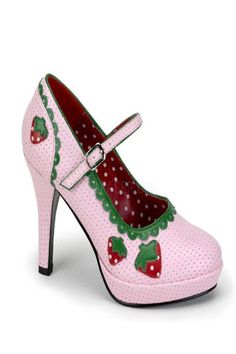 Features: Faux leather with dotted perforation, multi strawberries, decor trim, adjustable ankle strap and 4 inch heels.