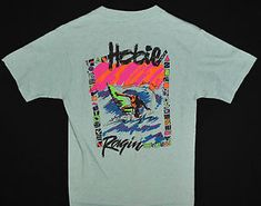 Vtg 80s Hobie Ragin Surf T Shirt Mens M Surfing Beach Seafoam Green Made USA   eBay